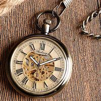 Vintage Open Face Self Winding Automatic Mechanical Men Women Pocket Watch Chain