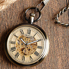 Vintage Open Face Self Winding Automatic Mechanical Men Women Pocket Watch Chain