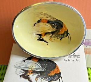 Tilnar Art-by Meg Hawkins-Bumble Bee Oval Bowl-Handmade-Ornamental Home Décor