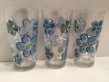 Vintage drinking glasses with blue flowers, Vintage drinkware