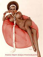 "Nude Black Woman Sitting on Bean Bag 8.5x11"" Photo Print, Alberto Vargas Pin-up"