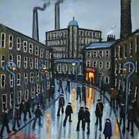 Superb James Downie Original Oil Painting - Off To The Factory (Northern Art)