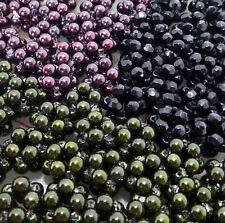 180 Czech glass beaded beads 10mm purple green pearl jet black faceted olivine