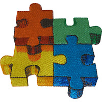 Jigsaw Puzzle Iron On Patch Sew On Clothes Embroidered Badge Embroidery Applique