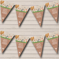 Party Banner Bunting Woodland Forest Animals Fox Personalised Baby Shower