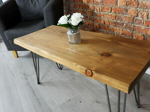 NEW INDUSTRIAL SOLID WOOD RUSTIC HANDMADE CHUNKY RETRO Coffee Table Hairpin Legs