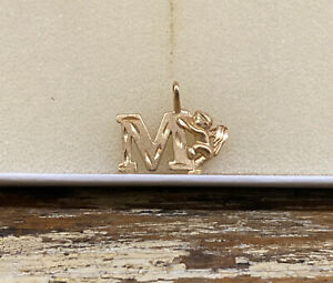 14K Yellow Gold Letter M Initial with Angel Charm or Pendant by Michael Anthony
