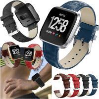 US Luxury Leather Wrist strap Bracelet Watch Band Fitbit Versa / Lite / Versa 2