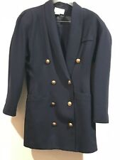 Vintage Cache Blue Suits (Skirt & Jacket with Gold Button) Size 10