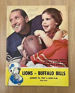 VINTAGE 1967 NFL AFL BUFFALO BILLS @ DETROIT LIONS FOOTBALL PROGRAM - AUG 14