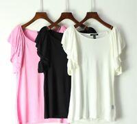 New Lauren Ralph Lauren Ruffle Sleeveless Black White Top Tshirt Tee Sz M L XL