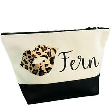 Personalised Any Name Leopard Lips Printed Cosmetic Toiletries Make Up Bag W544M