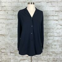 Piazza Sempione Womens Long Sleeve Button Down Blouse Blue Wool Size Italian 42