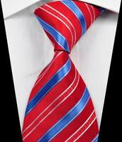 New Classic Stripes Red Blue White JACQUARD WOVEN 100% Silk Men's Tie Necktie