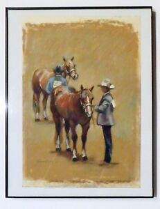 "Kathleen Burns 7"" X 10"" Pastel Painting 1991 Horses Equestrian Event Cowboys"