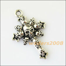 4 New Halloween Skull Cross Tibetan Silver Tone Charms Pendants 28x43mm