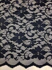 "New Fashion Dark Navy Stretch Floral Lace Fabric Double Scalp Border 59"" 150 Cm"