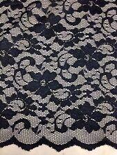 """NUOVA moda dark navy Stretch pizzo floreale in tessuto doppio cuoio capelluto bordo 59"""" 150 cm"""