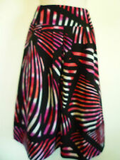 Worthington womens L 14 black pink purple white career lined a-line flare skirt
