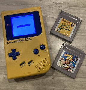 Nintendo Game Boy Yellow Handheld System W/ Blue Backlit Screen + 2 Games Tested