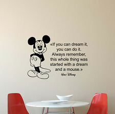 Disney Quote Wall Decal If You Can Dream It Vinyl Sticker Mickey Mouse Decor 766