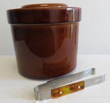 Vintage Pfaltzgraff Brown Crock Canister w/Lid, 3 1/2 Qt, Metal Insert w/Tongs