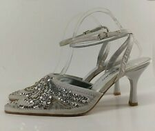 Ladies Shoes UK 6 Silver Satin Sequin Beaded Strappy Sculpted Heel Wedding Guest