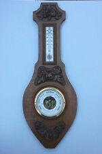 Barometer + Thermometer mit Blütenschnitzerei, Art Deko, Frankreich, um 1930