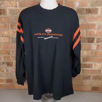 Harley Davidson Long Sleeve Polo Shirt Size 2XL Black Orange New Bern NC