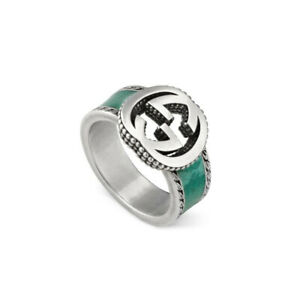 RING GUCCI Interlocking G YBC645572001 Sterling silver Turquoise SIZE N Q New