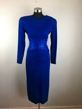 Vintage Vakko Womens Sheath Dress 6 Bright Blue Suede Leather Open Back USA Made