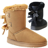 New Ladies Fur Lined Ankle Snow Boots Women Snug Bow Winter Warm Calf Shoes Size