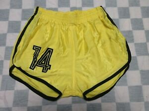Short MD SPORTS n°14 nylon polyamide années 80 jaune made in France 95