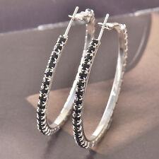Around Blacki Cubic Zirconia 9k white gold filled Ladies Hoop Earrings F4532