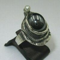 "R788⭐⭐ Designer Ring "" PERLI "" mit Perle 925 Silber Modernist Art Gr. Variabel⭐⭐"