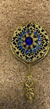 New girls handheld mirror gold look with gems