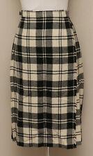 Vintage 1950s XS/S Kenmore Black/Cream Plaid Wool Pleated Wrap Skirt