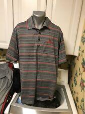 Bardmoor Golf & Tennis Club Men's Golf Polo Shirt Gray Striped Xxl Polyester