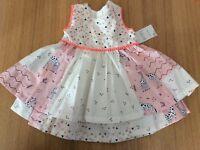 BNWT Baby Girls Dress 3-6 Months Matalan pink white zebra theme party