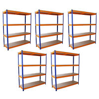 5 Estanterias Metalicas Acero Inoxidable Sin Tornillos Azules/Naranjas 150cm