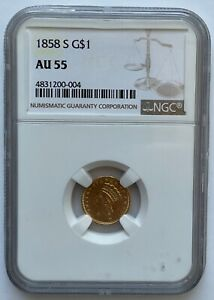 1858-S Type 3 Gold Dollar NGC AU-55
