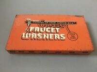 Vintage Metal Tin Box advertising Grizzly Faucet Washers Orange Industrial Rare