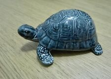 Blue-Glazed Poole England Pottery Tortoise Collectable Ceramic Figure Vintage