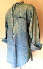 "Vintage 70s Stone-Wash Blue Denim Shirt Size M/L 45"" Arts Long Made in Hong Kong"