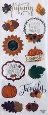 New 5x12� Fall Autumn Harvest Family Pumpkin Gold Foiled Scrapbook Stickers