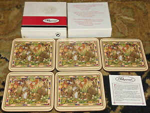 Pimpernel EASTER Country Rabbits Cork Back Coasters England Set of 5 in Box Nice