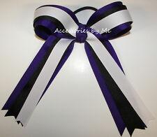 Ponytail Holder Bow Purple Black White Ribbon Cheer Softball Volleyball Soccer