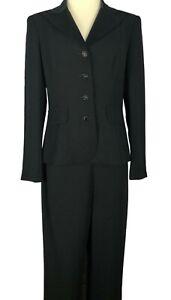 Talbots Formal Tuxedo Style Black Satin Lapel Jacket Pant Suit Size 8