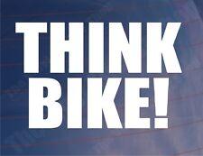 THINK BIKE Safety Novelty Car/Van/Window/Bumper/Motorcycle Vinyl Sticker/Decal