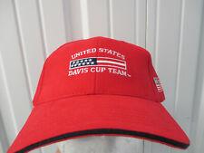 Vintage Usta United States Davis Cup Team Red Sewn Strapback Hat American Flag